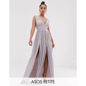ASOS Petite Premium Lace Insert Pleated Maxi Dress